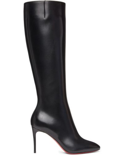 Czarny skórzany buty obcasy na pięcie Christian Louboutin