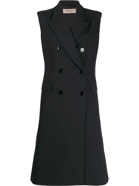 Прямой черный удлиненный пиджак с карманами Blanca