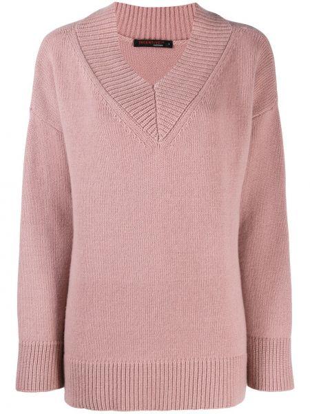 Розовый свитер со спущенными плечами в рубчик с вырезом Incentive! Cashmere