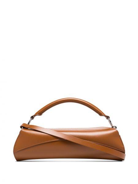 Кожаная коричневая кожаная сумка круглая Venczel