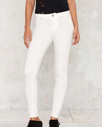 Белые зауженные джинсы-скинни свободного кроя Cheap Monday