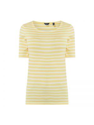 Żółty t-shirt w paski bawełniany Gant