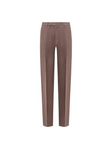 Хлопковые коричневые брюки Ermenegildo Zegna