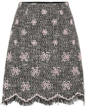 Плиссированная черная акриловая юбка мини Giambattista Valli