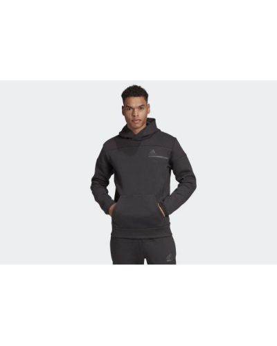 Czarny pulower dzianinowy z kapturem Adidas