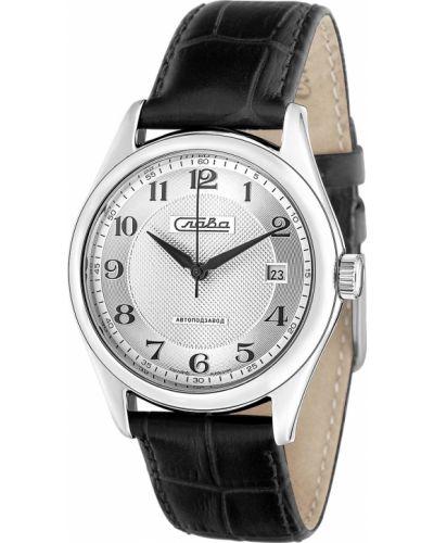 С ремешком кожаные серебряные часы на кожаном ремешке Слава