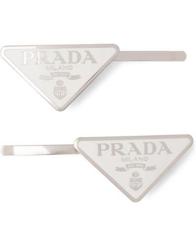 Białe klipsy Prada