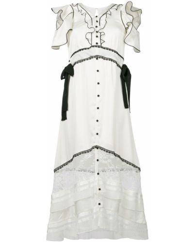 Платье с V-образным вырезом на пуговицах с открытыми плечами Self-portrait