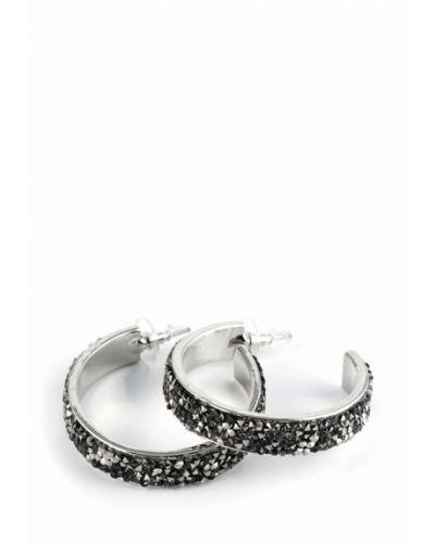 Черные серьги-кольца Selena