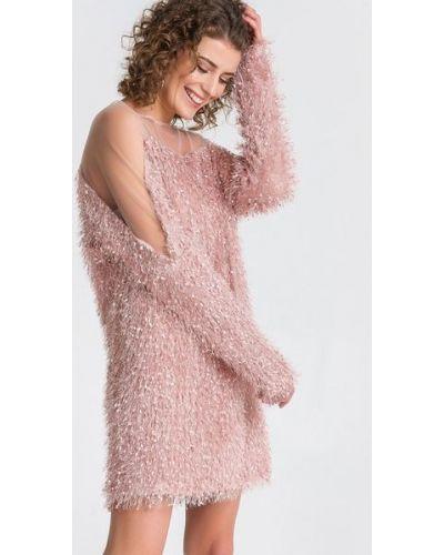 Вечернее розовое вечернее платье на торжество с открытыми плечами Vovk