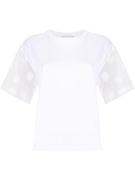 Хлопковая с рукавами белая футболка Fabiana Filippi