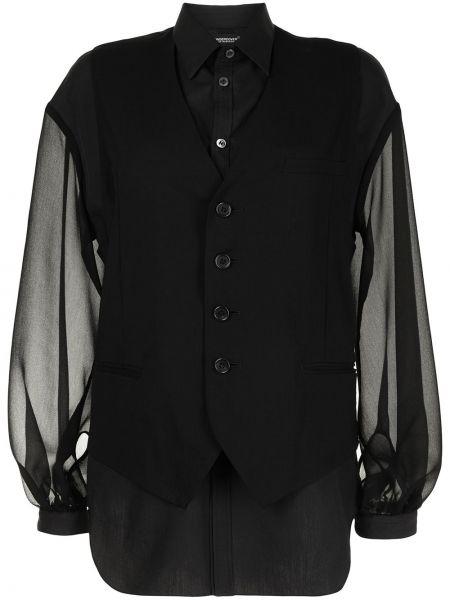 Черная классическая рубашка с воротником прозрачная Undercover