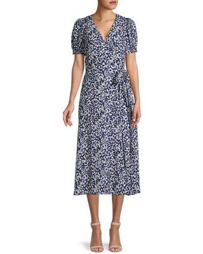 Свободное шелковое платье миди с короткими рукавами Tanya Taylor