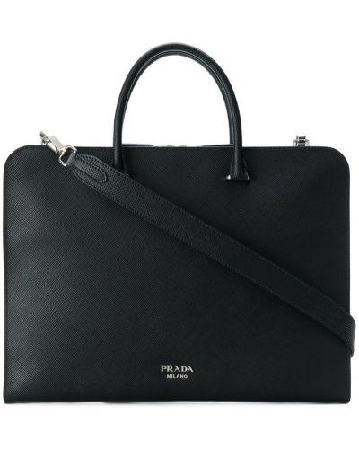 Кожаная сумка для ноутбука на молнии Prada