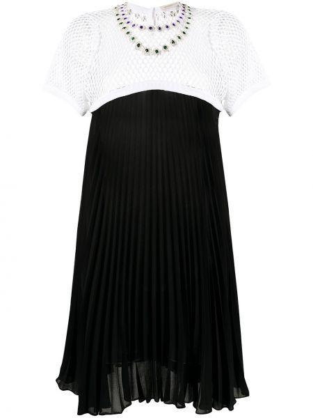 Плиссированное платье мини сетчатое на молнии с вырезом Christopher Kane
