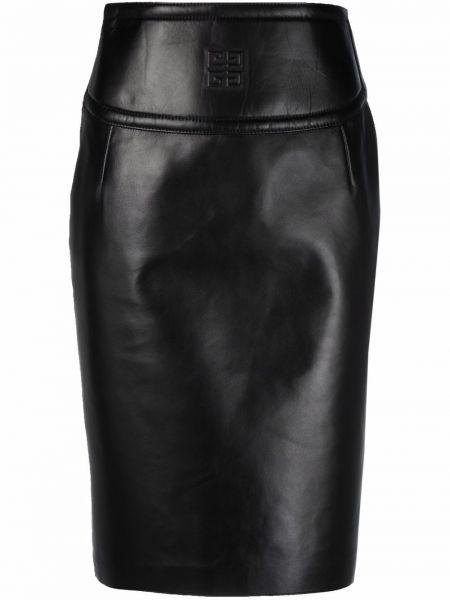 Czarna spódnica ołówkowa z wysokim stanem skórzana Givenchy
