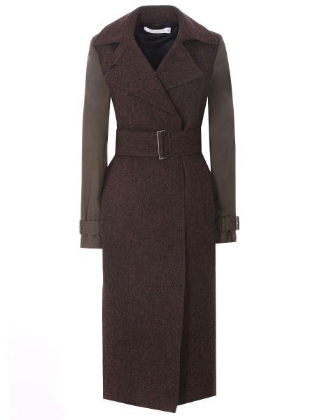 Приталенное шерстяное пальто с воротником с поясом Victoria Beckham