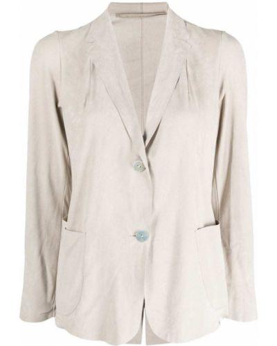 Бежевый однобортный кожаный удлиненный пиджак Salvatore Santoro