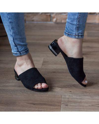 Замшевые черные мюли на каблуке Fashion
