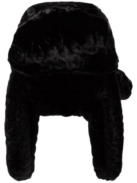 Ciepły czarny czapka z nausznikami z akrylu Ruslan Baginskiy