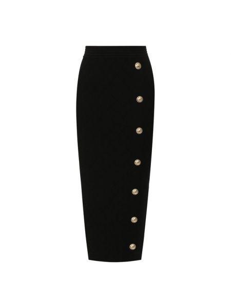 Трикотажная юбка миди - черная Balmain