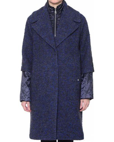 Синее шерстяное пальто с капюшоном Bogner