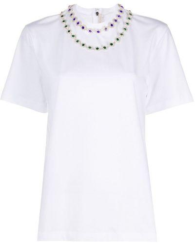 Хлопковая белая прямая футболка с круглым вырезом Christopher Kane