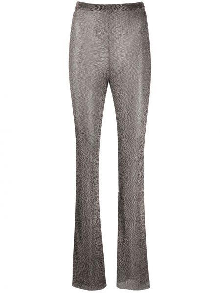 Коричневые расклешенные брюки с высокой посадкой из вискозы Mugler