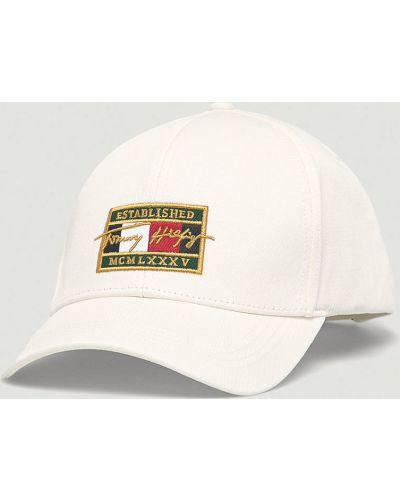 Biały kapelusz materiałowy Tommy Hilfiger