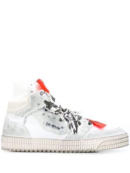 Ze strzałkami czarny włókienniczy sneakersy na wysokości Off-white