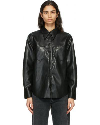 Skórzany z rękawami czarny koszula Agolde