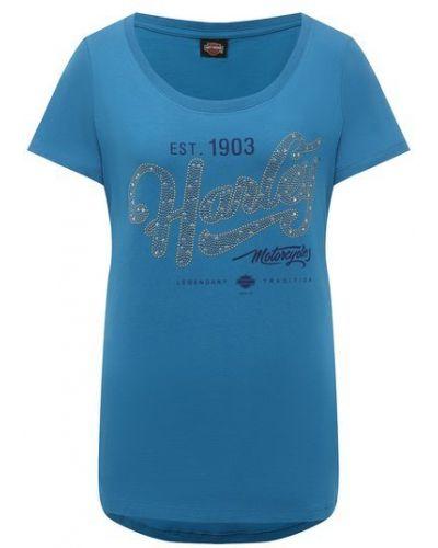 Хлопковая синяя футболка Harley Davidson