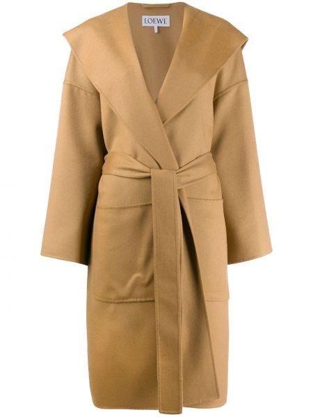 Коричневое шерстяное кожаное пальто с запахом с поясом Loewe