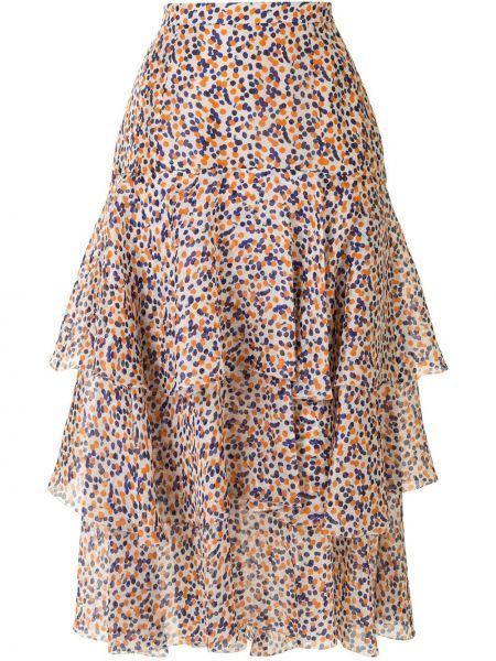 Шелковая с завышенной талией синяя юбка Delpozo