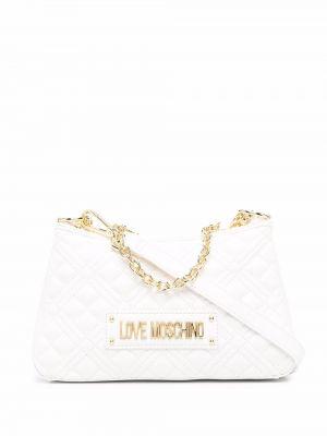 Złota torebka na łańcuszku - biała Love Moschino