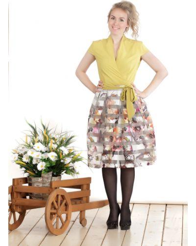Платье с поясом из органзы горчичный Lacywear