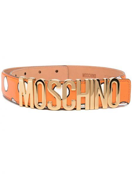 Оранжевый кожаный ремень в горошек Moschino