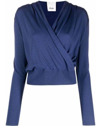 Синий шерстяной джемпер с вырезом Allude