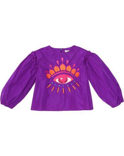 Fioletowy bluzka z haftem Kenzo Kids
