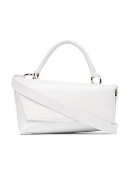 Кожаная белая кожаная сумка круглая Venczel