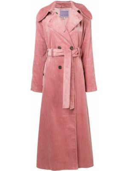 Розовое пальто с поясом двубортное из вискозы Alexa Chung