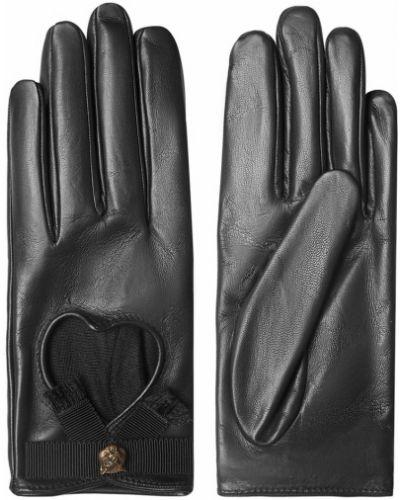 Кожаные черные перчатки с вырезом Gucci