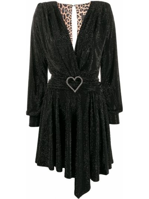 Черное платье мини с вырезом с драпировкой Philipp Plein
