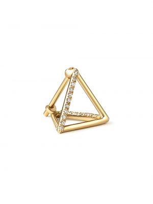 Золотистые желтые золотые серьги с бриллиантом Shihara