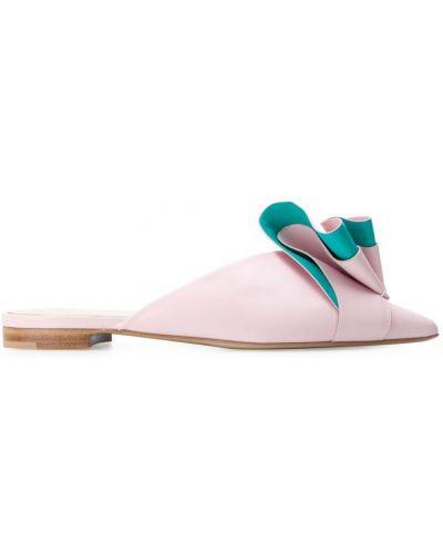 Розовые мюли с оборками на каблуке Delpozo