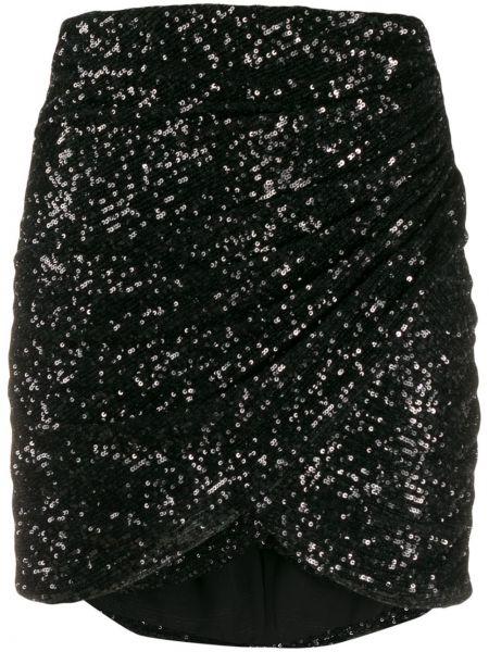 Czarna spódnica mini z falbanami kopertowa Giamba