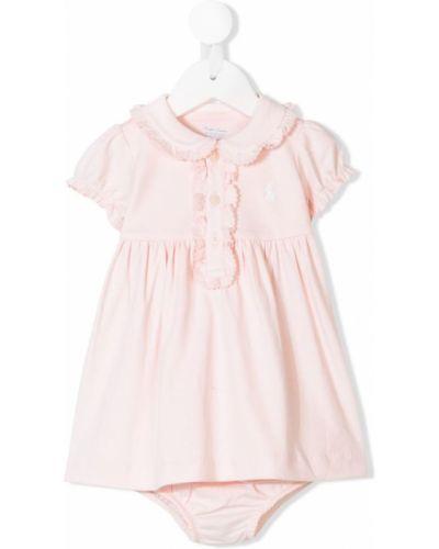 Платье с рукавами хлопковое короткое Ralph Lauren Kids