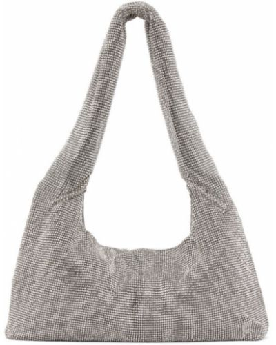 Włókienniczy srebro torba na ramię prążkowany z siatką Kara