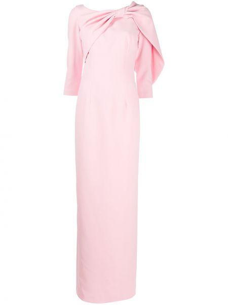 Приталенное с рукавами розовое платье макси Safiyaa