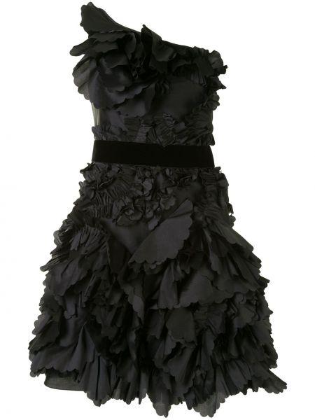 Черное платье на одно плечо без рукавов Marchesa Notte